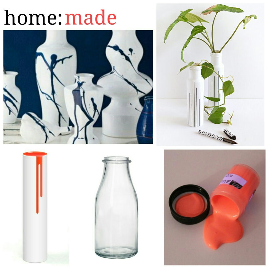 home: made [ paint drip vase ]