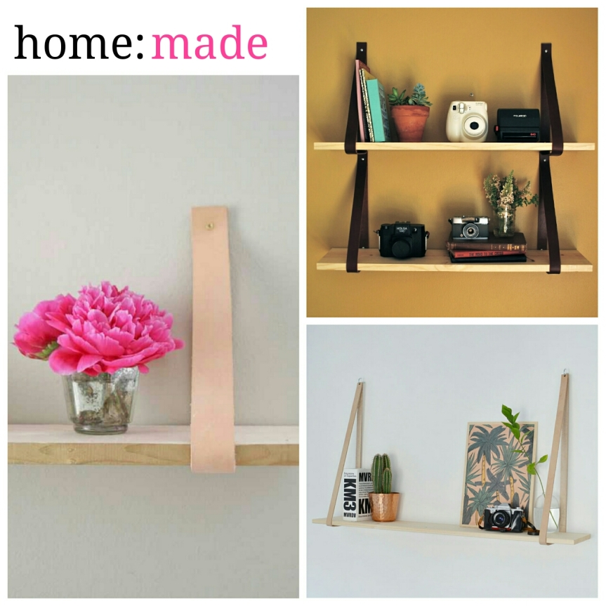 home: made [ leather strap shelves ]