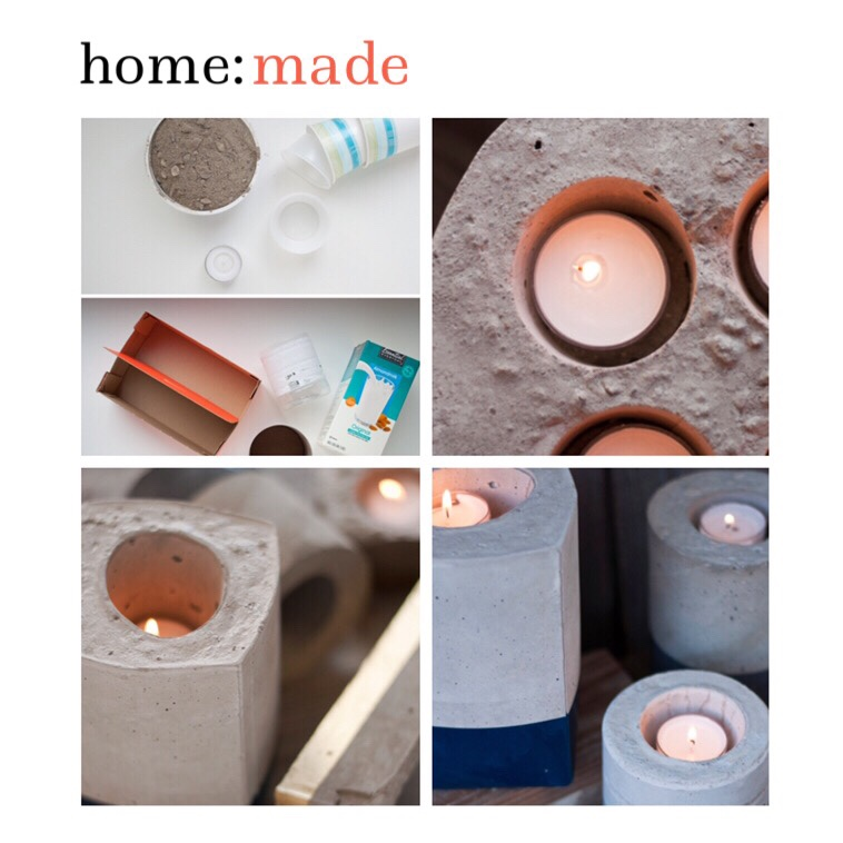 home: made [ concrete candle holders ]
