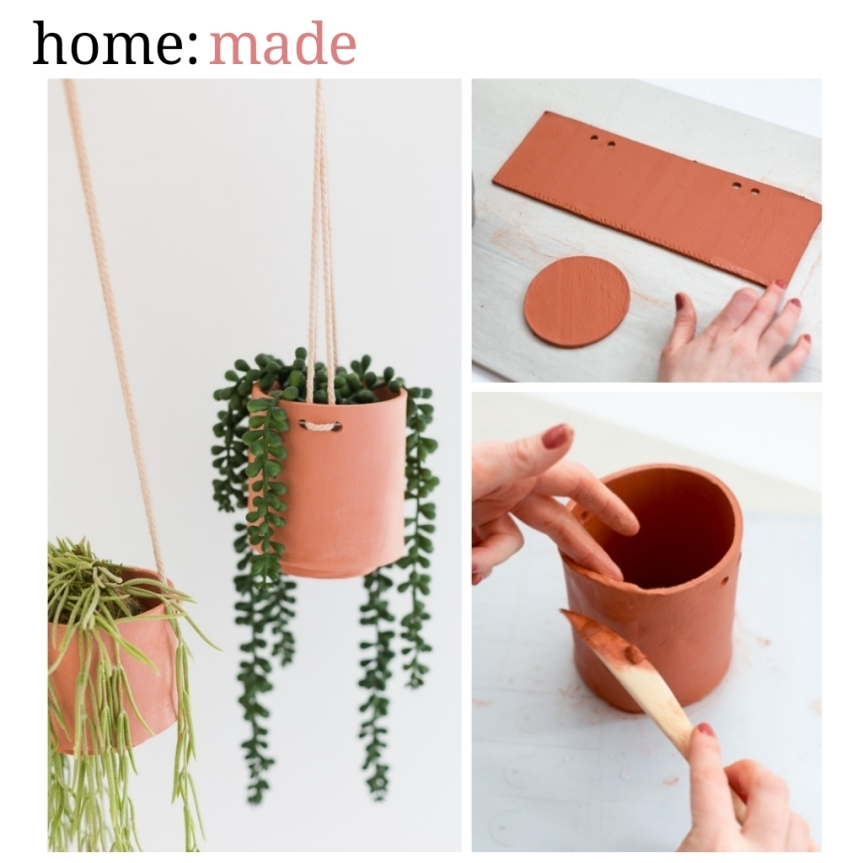 home: made [ clay hanging planter ]