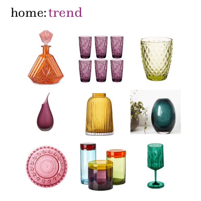 home: trend [ jewel tone glassware ]