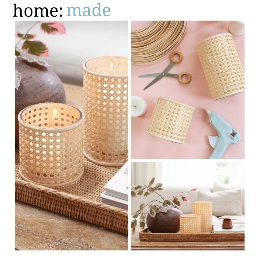 home: made [ cane candle holder ]