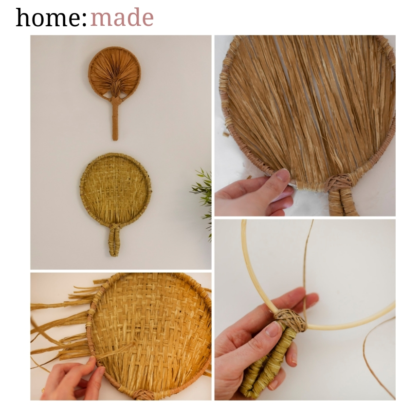 home: made [ palm fans]