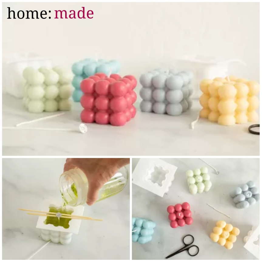 home: made [ bubble cube candle]
