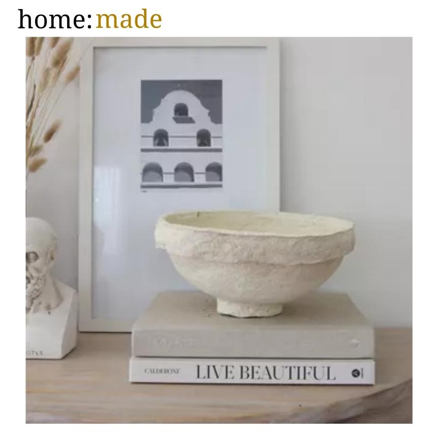 home: made [ paper-mache bowl]